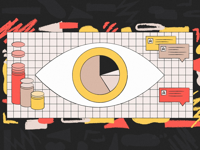 Research Ops abstract record watch eye pie grid chart chat illustration research