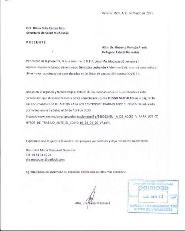 oficio, odontólogos, Morelia, COVID-19