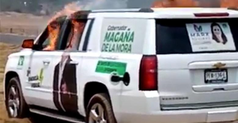PVEM, camioneta quemada, Nahuatzen
