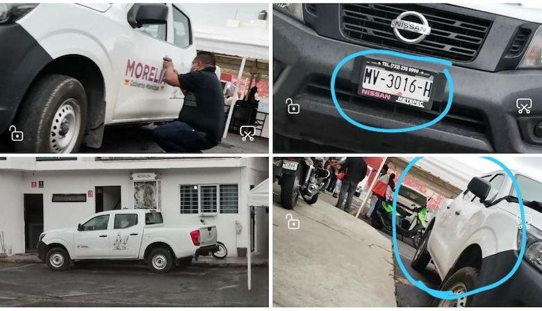 vehículos oficiales Morelia, quitan balizamiento,
