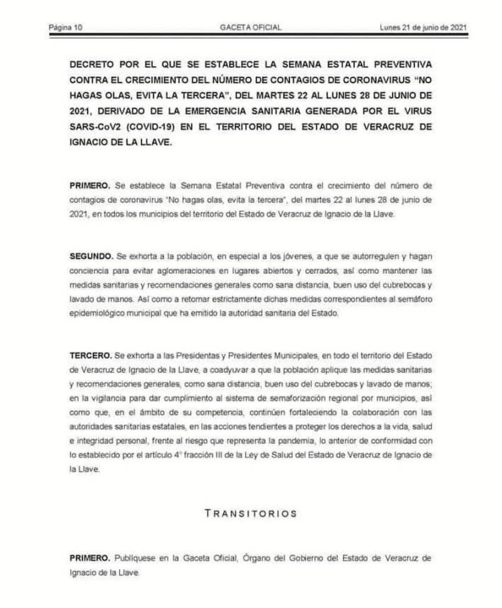 decreto, pandemia, Veracruz