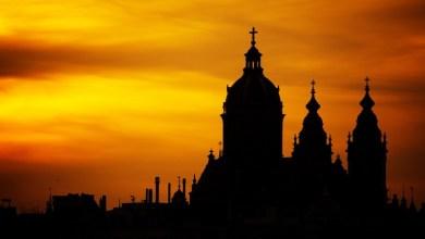Catedral, sombra, contraluz