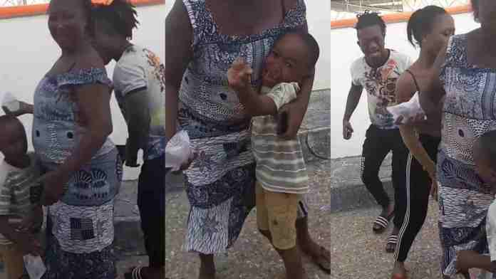 Sumsum scares the hell out of Akuapem Poloo's son with his Gigantic eyeballs