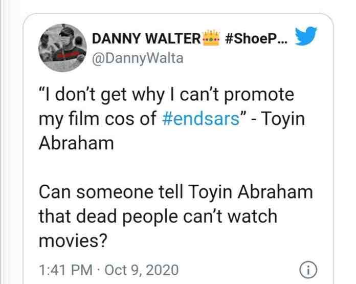 Toyin Abraham joins EndSARS