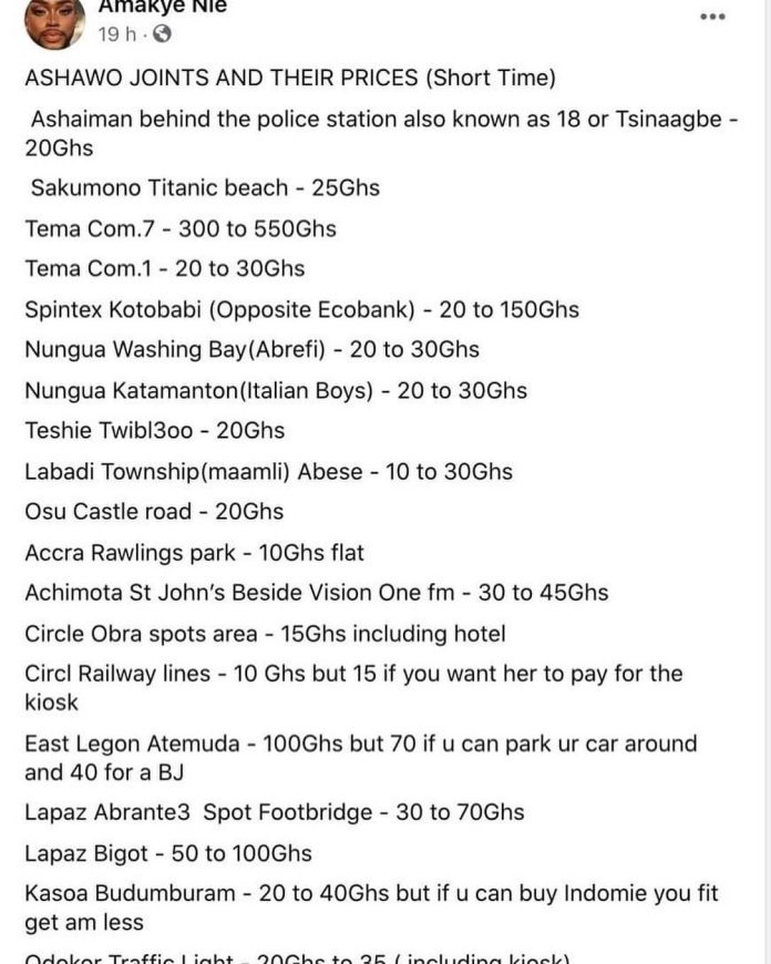 Ashawo joints in Accra and their prices