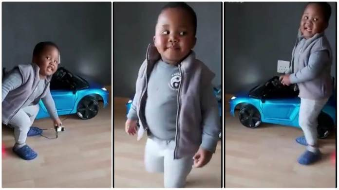 toddler insists on charging his toy car without electricity