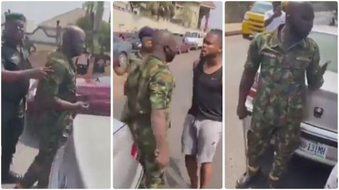 Nigerian footballer confronts military man