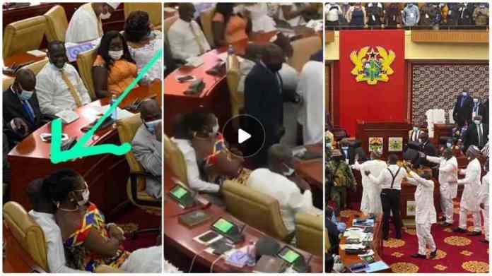 Nightclub life in parliament as Ursula Owusu sat on Mintah Akandoh laps [video]