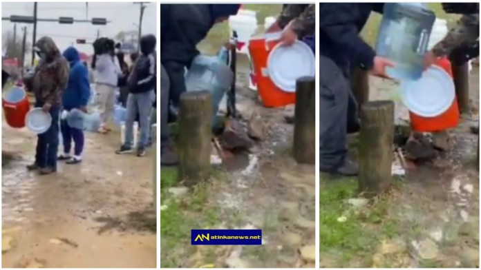 Americans are captured forming a long queue just to fetch water