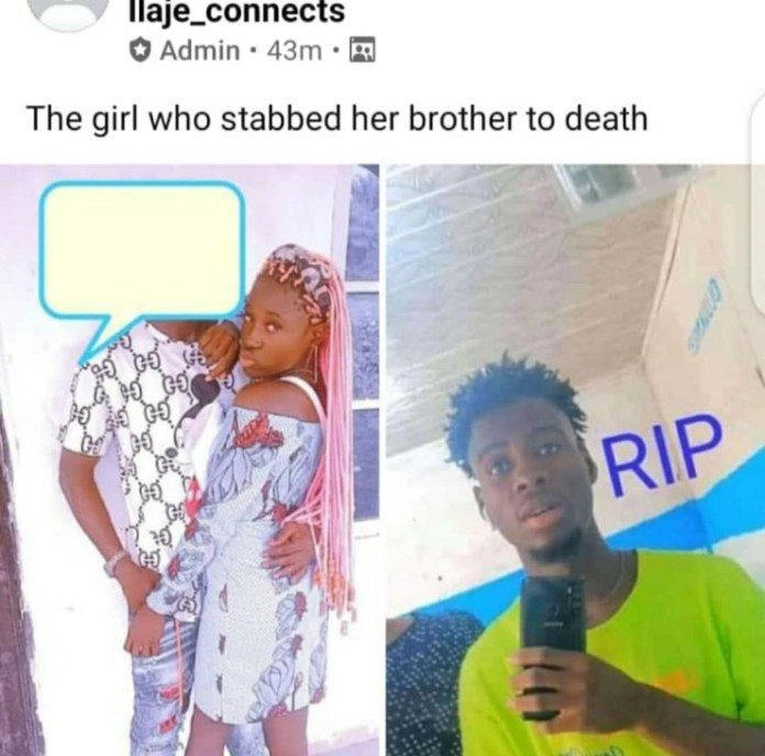 Lady allegedly stabs her brother to death