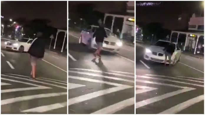 Drifting goes wrong as man hits friend with his own car