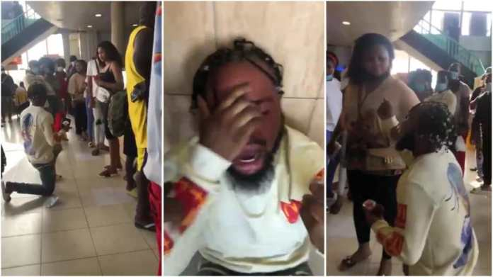 Man cries out as lady turns down his proposal