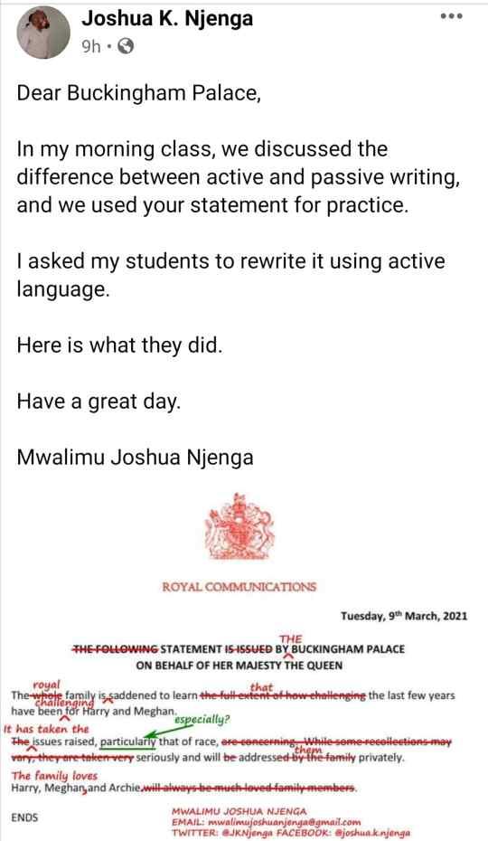 Un Kényan corrige les fautes d'anglais dans la déclaration de la famille royale britannique concernant Meghan