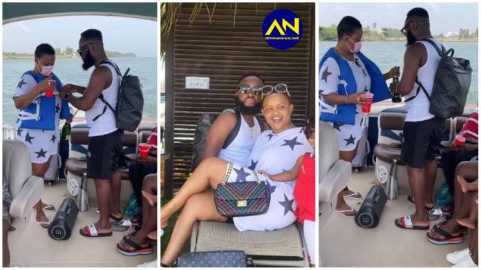 Actress Nana Ama McBrown and husband 'ch0p love' as they chill on a boat cruise [Watch]