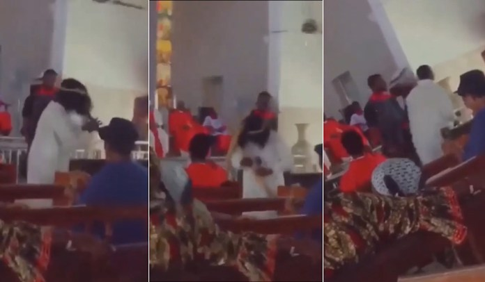 Man acting Jesus in church play screams and angrily storms out