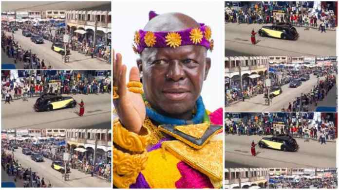 Massive cheers for Otumfuo as he rides in his 86-year-old Rolls Royce