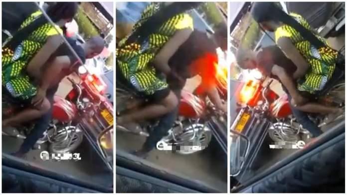 thirsty Okada rider doing the unthinkable to a female passenger