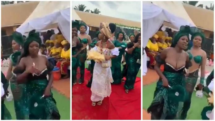 Busty bridesmaid steals bride's shine