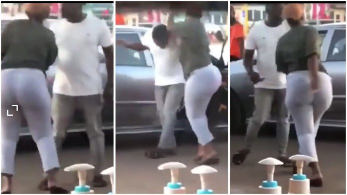 wife caught her husband with his side chic.