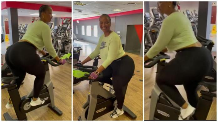 Heavy backside lady working out in a gym