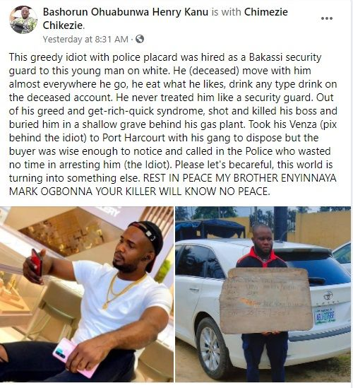 US-based Nigerian man killed by vigilante man he hired to keep him safe