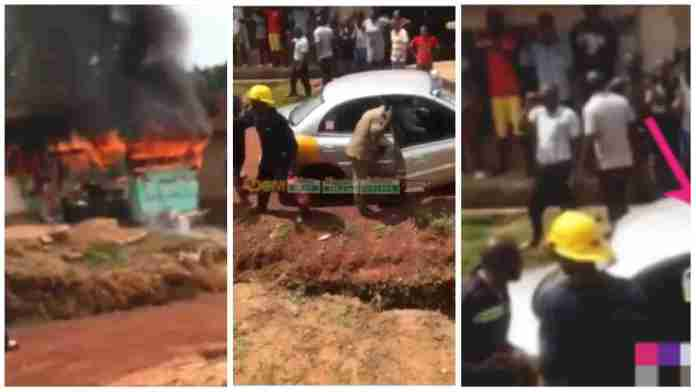 Moment Ghana Fire Service personnel arrived in a taxi with fire extinguisher to put out a burning house [video]