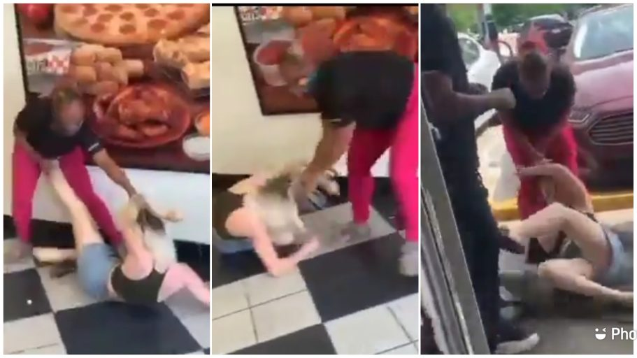A black woman beats up racist white lady for calling her slave and monkey [video]