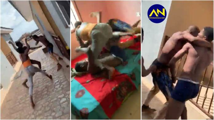 Drama as Lady joins her main boyfriend to fight off her side guy