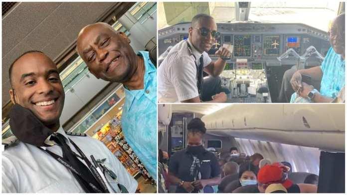 Pilot sheds tears of joy as he flies his dad