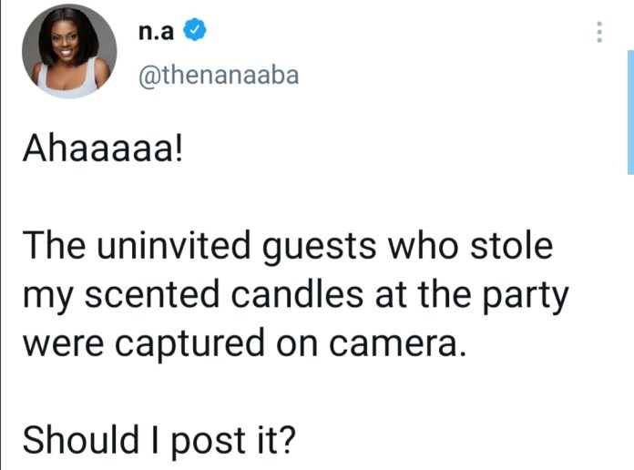 Thieves steal scented candles at Nana Aba Anamoah's birthday party