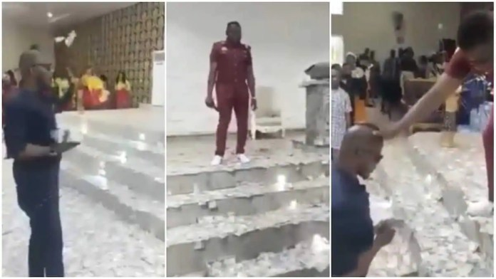 Congregants shout as man sprays pastor with wads of cash during church service [Watch]