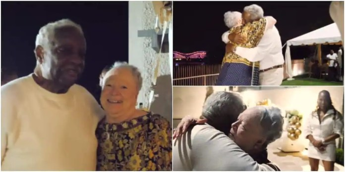 Couple hug tightly while celebrating their 60th wedding anniversary