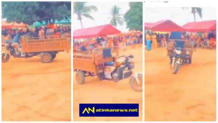 """Aboboyaa with """"no driver"""" moving at funeral grounds causes confusion online [Watch]"""