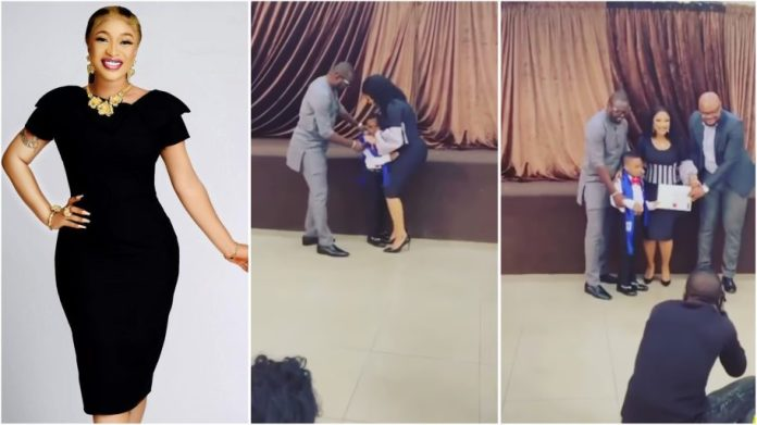 Tonto Dikeh hails her new man for playing fatherly role for her son Andre [video]