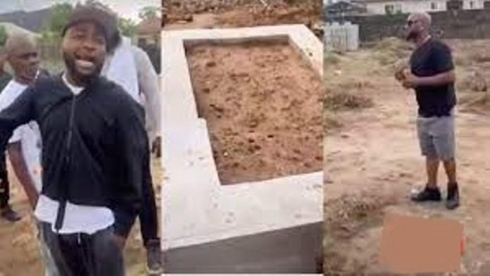 Davido and crew visit Obama DMW's grave