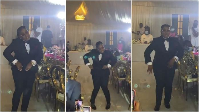 Groomslady steal show at wedding reception with powerful dance moves