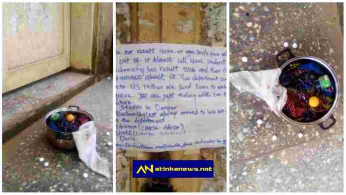 Student threatens to kill Lecturers, drops 'Sacrifice' in front of lecturer's office