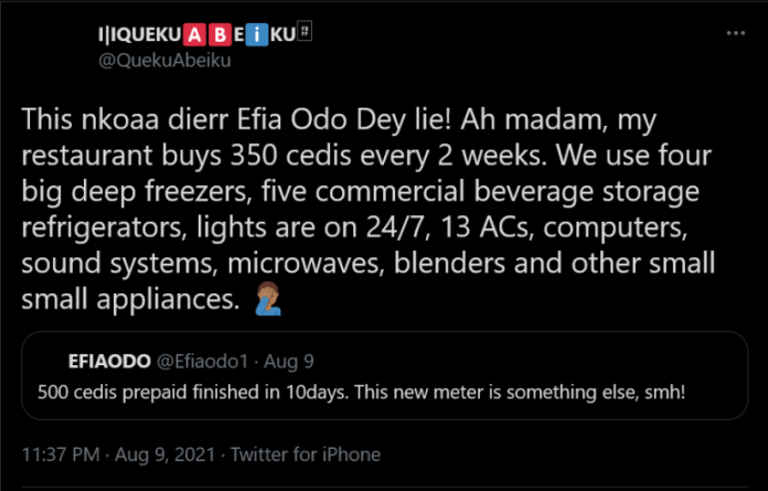 """Efia Odo dey lie!"""", Twitter user exposes Efia Odo for claiming she buys 500Ghc of electricity credits every 10days"""
