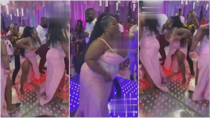 bridesmaids stunned guests in a wedding reception