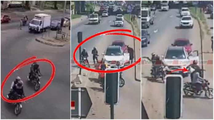 CCTV footage showing armed robbers riding on motorbikes