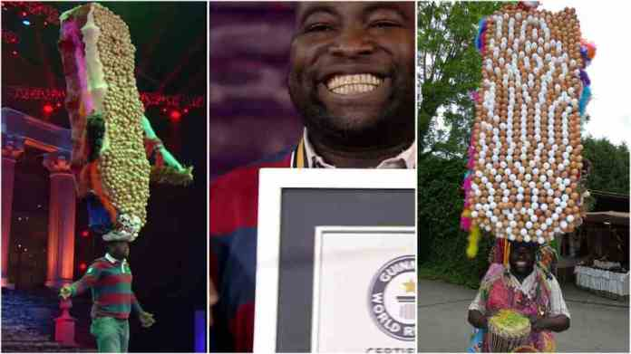 African man balances 735 eggs on his hat and creates world records
