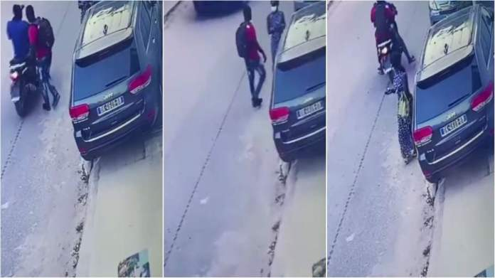Motorbike riding thugs robbed a lady of her phone in broad daylight