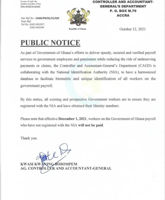 No Ghana Card no salary starting December 1 - Gov't to public sector workers