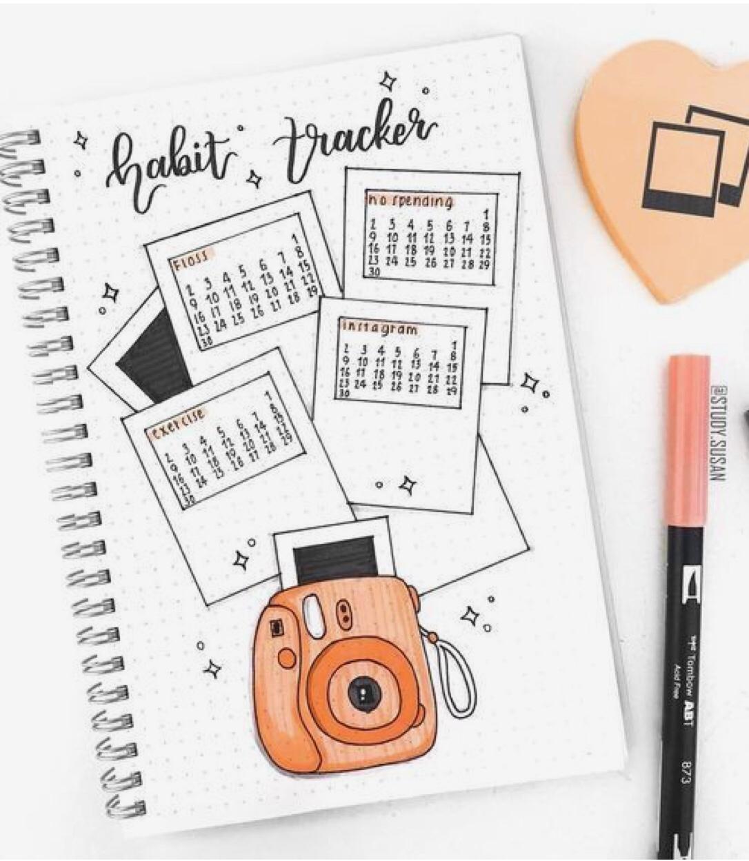 habit tracker, orange, polaroid films