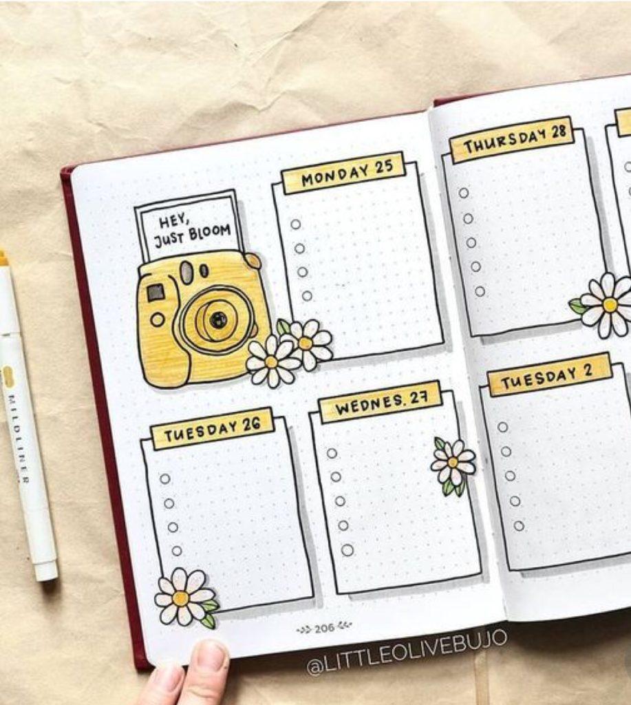 yellow camera, weekly spread, cute