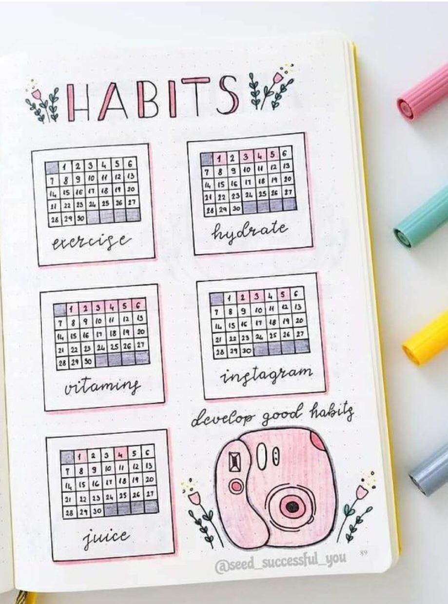 bujo spread, habit tracker, pink camera