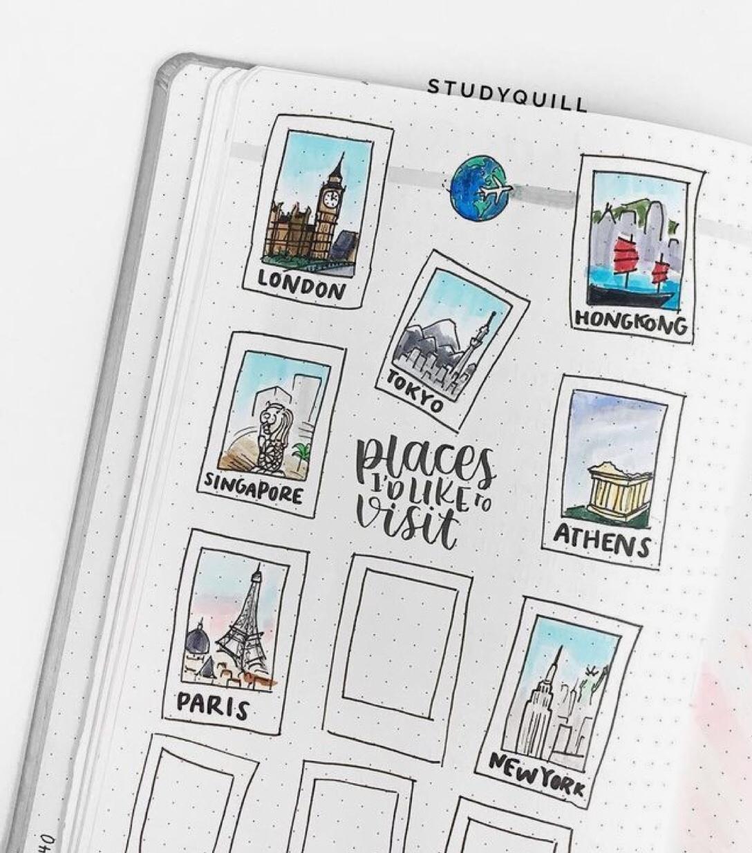 goal travel, polaroid film, bujo