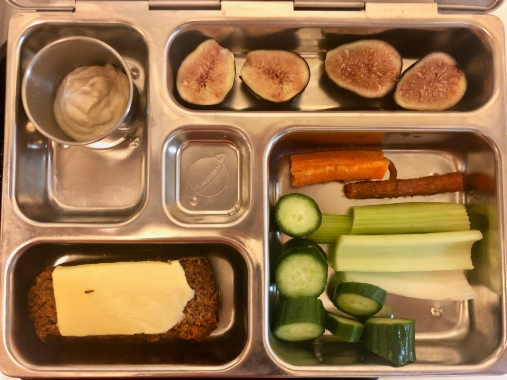 Coconut flour carrot cake with butter/ cucumber, celery, roasted carrots / figs/ tahini dipping sauce for vegetables