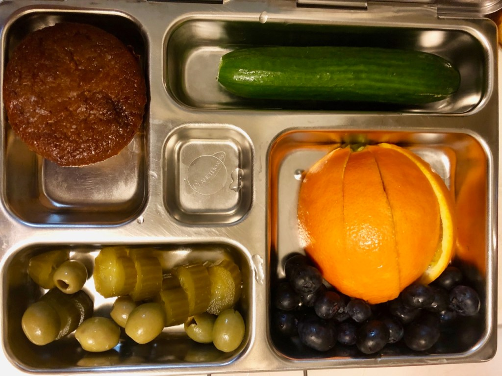Carrot muffin / orange and blueberries / olives and pickles/ cucumber