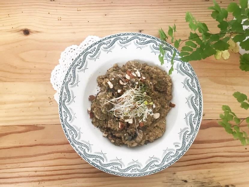 quinotto aux champignons - recettes végétariennes et vegan - atirelarigot